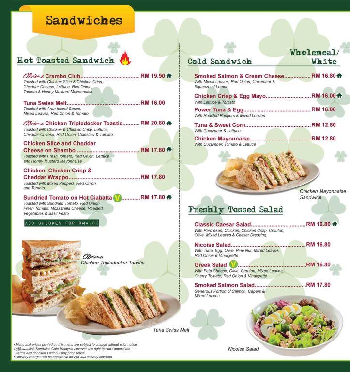 Contoh menunya diambil dari http://www.obriens.com.sg/asia/index.html?id=3