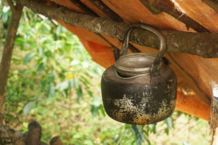 Coffee Tour Takengon Gayo - Aceh Tengah Ini pondok petani, biasanya di musim panen mereka akan tinggal di kebun dan masak kopi dengan ceret ini. Wanginya bisa memenuhi kebun kopi yang sejuk