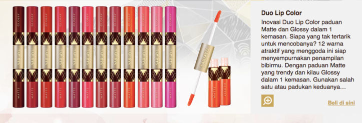 sariayu duo lip color pic source : sariayu website